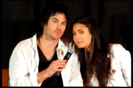 Ian Somerhalder and Nina Dobrev wallpaper with a portrait entitled Ian and Nina at the Mystic Love Convention 7-2 & 7-3 2011