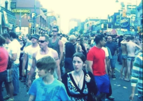 Justin and Pattie at gay pride in Toronto
