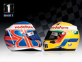 Lewis & Jenson Race Helmets Wallpaper - lewis-hamilton wallpaper