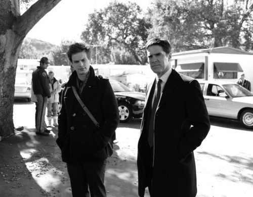 Criminal Minds wallpaper containing a business suit and a street entitled Reid & Hotch