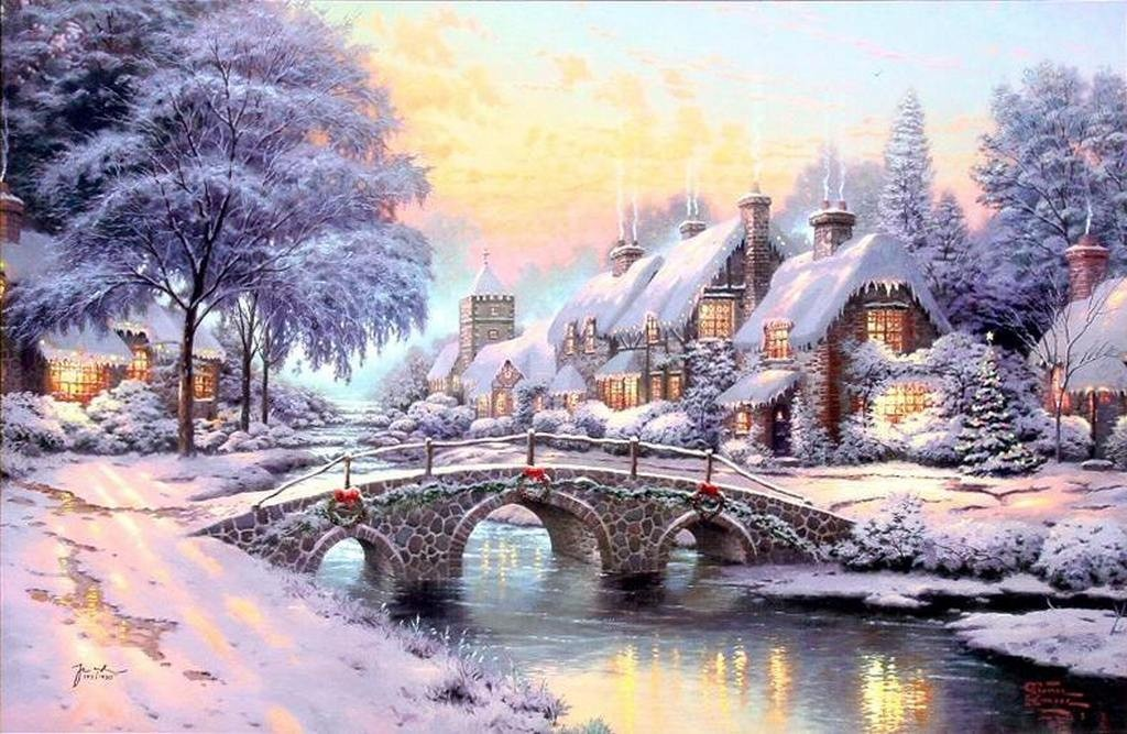 Thomas kinkade winter wallpaper 2017 grasscloth wallpaper Christmas card scenes to paint