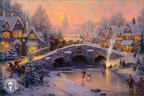 Winter wallpaper with a fountain entitled Thomas Kinkade Winter