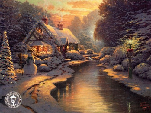 Winter wallpaper titled Thomas Kinkade Winter