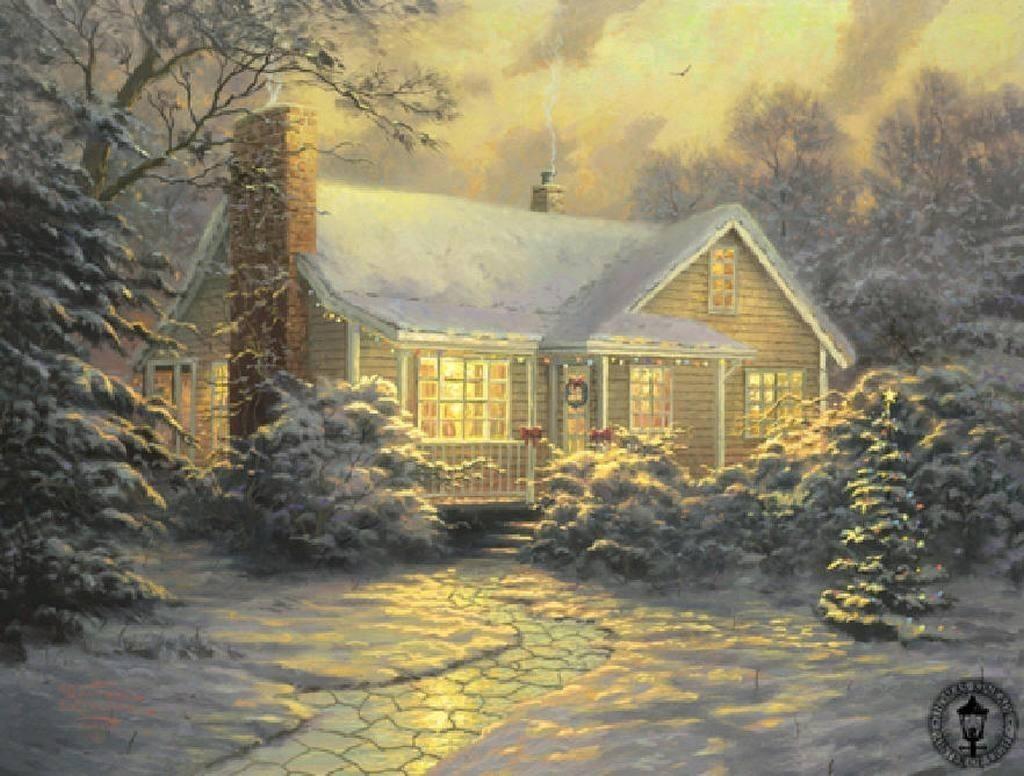 Thomas kinkade winter winter fan art 23436554 fanpop