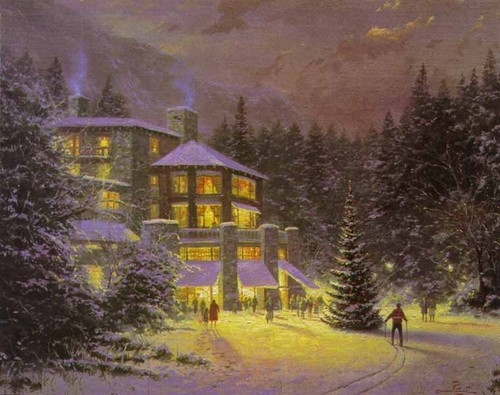 Winter wolpeyper probably containing a villa, a chalet, and a lychgate titled Thomas Kinkade Winter