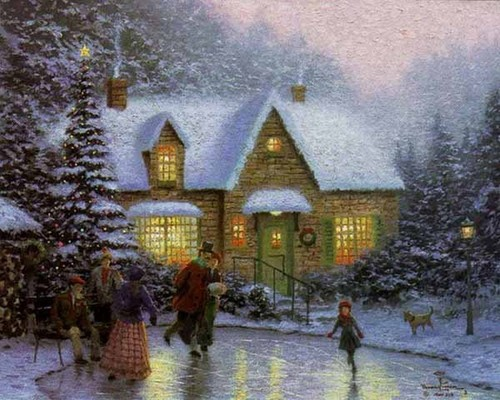 Winter wallpaper with a street, a lychgate, and a resort titled Thomas Kinkade Winter