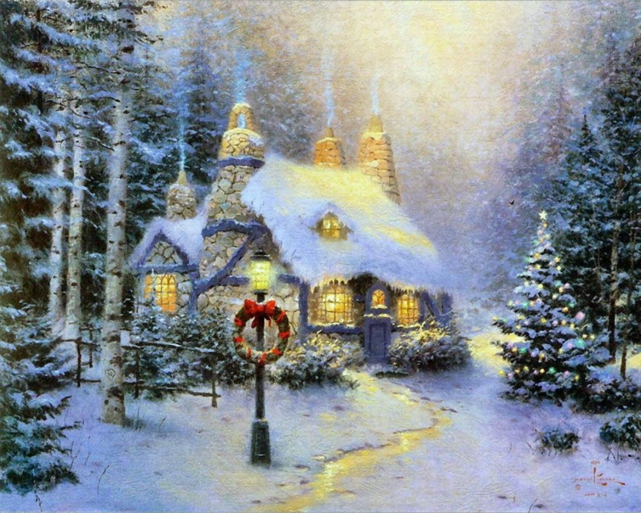 Winter images thomas kinkade winter hd wallpaper and for Christmas images paintings