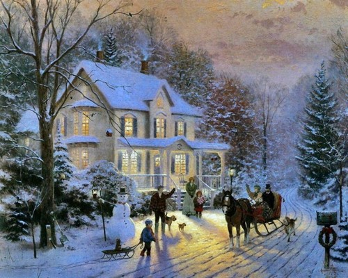 Winter wallpaper possibly containing a row house and a street entitled Thomas Kinkade Winter