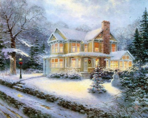Winter wallpaper possibly with a manor and a mansion entitled Thomas Kinkade Winter