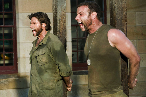 Hugh Jackman as Wolverine wallpaper probably containing a green beret, vestido de batalha, fadigas, and fadiga titled Wolverine & Sabertooth