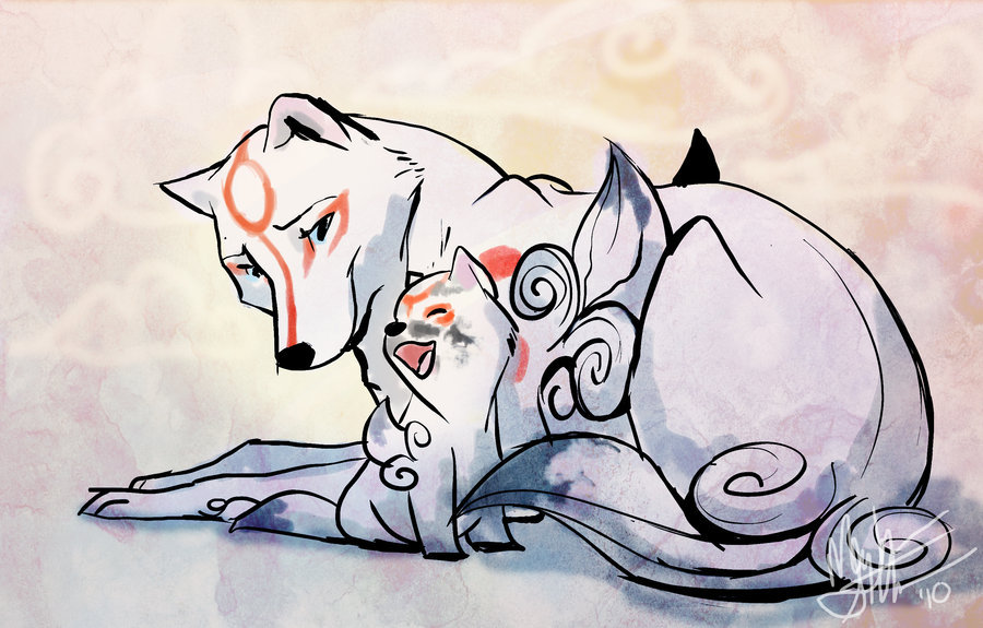 amaterasu and her son - wolves photo