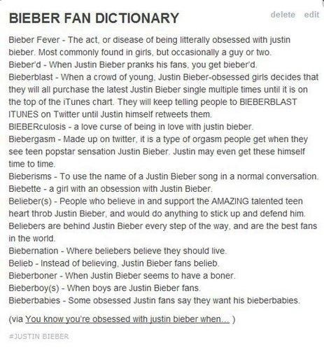 bieber dictionary