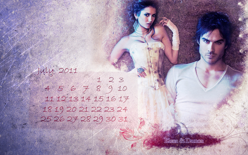 calendar july - damon-and-elena-and-ian-and-nina Wallpaper