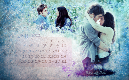 calendar july - edward-and-bella Wallpaper