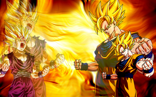 dbz rampage wallpaper possibly with anime called father and son ssj