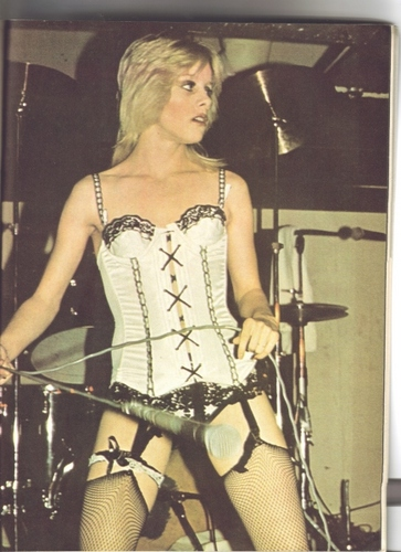 the runaways wallpaper probably with a leotard, a bustier, and tights titled Cherie Currie