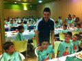 David Villa having dinner with the kids from his camp