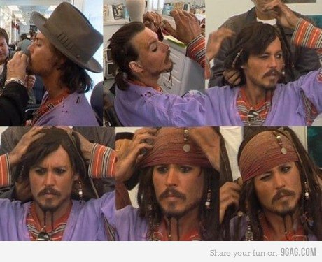 Johnny becoming Captain Jack Sparrow
