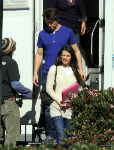 """Leaving the trailer at the """"Glee"""" set - February 3, 2010"""