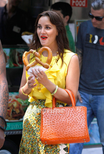 Blair Waldorf wallpaper possibly with a pretzel entitled Leighton Meester on the Set of Gossip Girl in NY, July 7