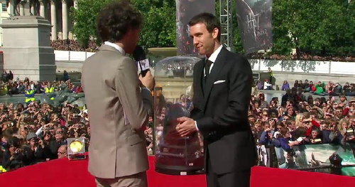 Matthew being interviewed at premiere