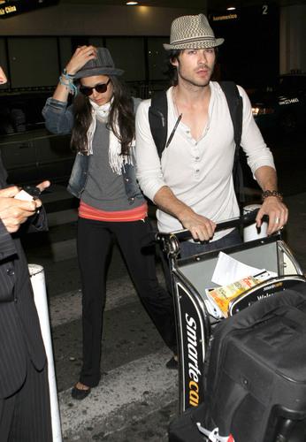 Nina - Arriving at LAX with Ian - July 05, 2011