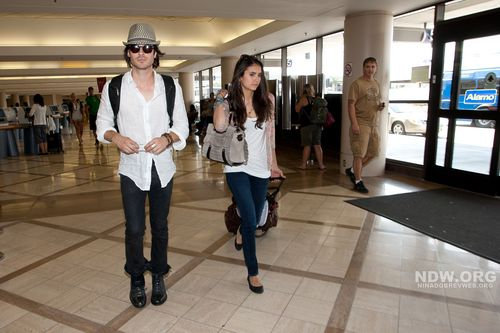 Nina Dobrev wallpaper containing a well dressed person titled Nina and Ian departing LAX Airport, July 7