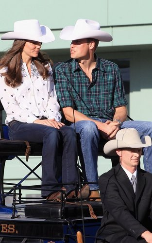 Prince William and Kate Middleton wallpaper containing a boater, a fedora, and a snap brim hat entitled Prince William & Kate's Chuckwagon Race Welcome
