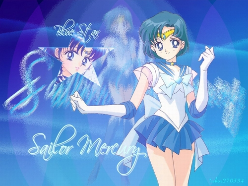 Sailor Moon karatasi la kupamba ukuta possibly with anime titled Sailor Mercury