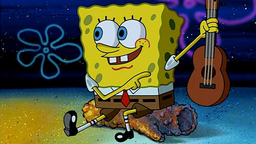 Spongebob getting ready to sing C-A-M-P-F-I-R-E song!