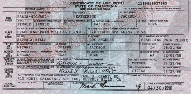 birth certificate of michael jackson