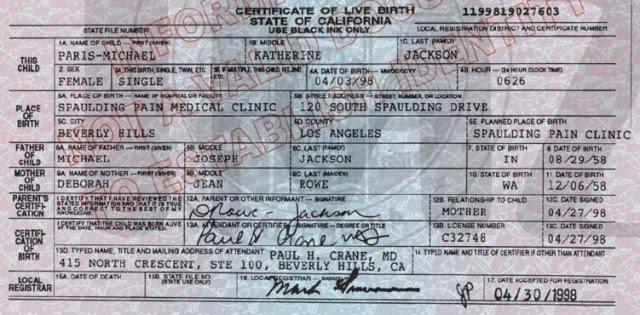 the birth certificate of paris