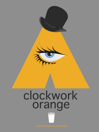 A Clockwork Orange wallpaper with a snap brim hat, a fedora, and a campaign hat titled A Clockwork Orange