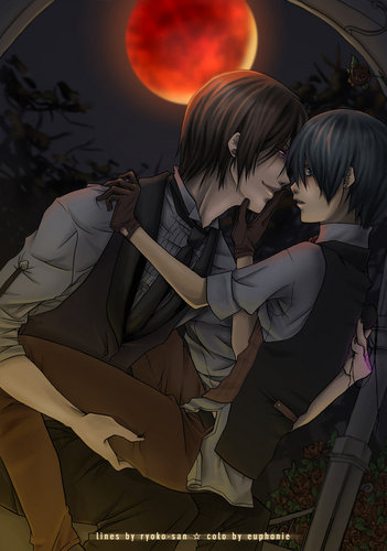 Ciel x Sebastian wallpaper titled A Dark Kiss