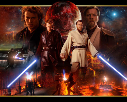bintang Wars: Revenge of the Sith wallpaper containing a fire, a concert, and a api titled Anakin and Obi wan