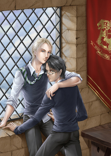 Draco Malfoy wallpaper containing a chainlink fence entitled Drarry - Fan Art (Slash)
