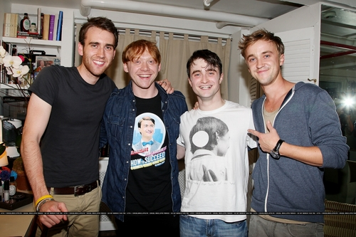 Tom Felton wallpaper probably with a sign titled HP Cast ,Backstage at How to Succeed in Business Without Really Trying