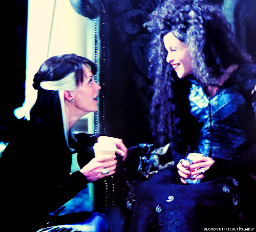 Helena & Helen McCrory at HP set