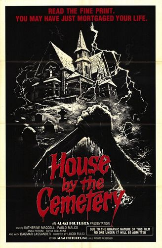 Horror films achtergrond containing anime titled House door the Cemetery poster