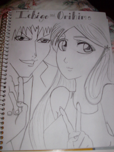 Anime Drawing Hintergrund probably with a sign called Ichigo and Orihime
