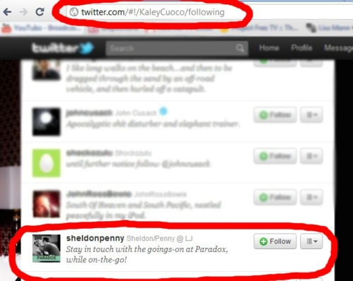 Kaley cuoco is following paradox on twitter penny amp sheldon photo