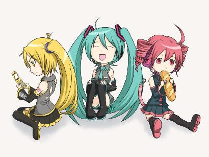 Vocaloids wallpaper possibly with anime called Neru, Miku and Teto