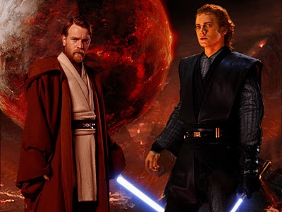 bintang Wars: Revenge of the Sith wallpaper containing a business suit entitled Obi wan and Vader