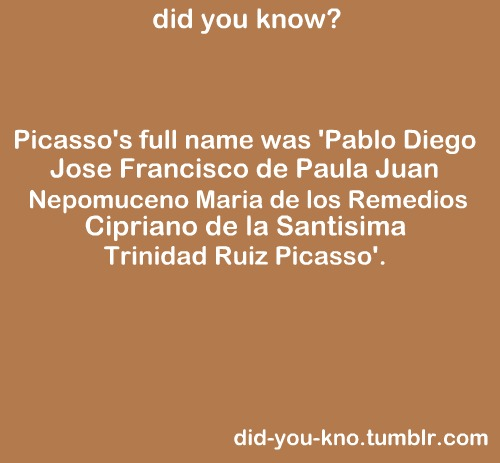 Picasso's Full Name