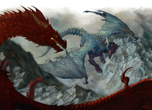 Dragons wallpaper probably containing a red cabbage called Red Dragon vs Blue Dragon