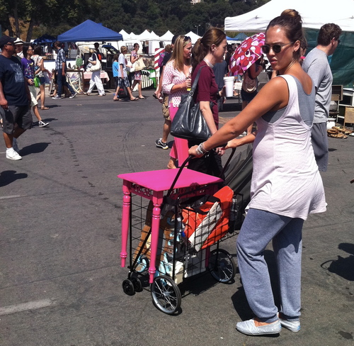 Shopping at Rose Bowl flea market in Pasadena, CA