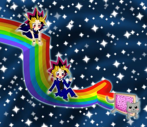 Yugi, Yami, and Nyan Cat :3