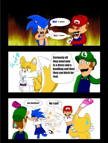 Sonic the Hedgehog wallpaper with anime titled sonic vs mario LOL