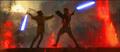 Anakin and Obi-wan dueling.:'(