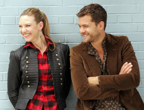 Anna Torv and Joshua Jackson achtergrond possibly with a well dressed person, a hip boot, and a shirtwaist entitled Anna Torv and Joshua Jackson Nylon photoshoot- 2008